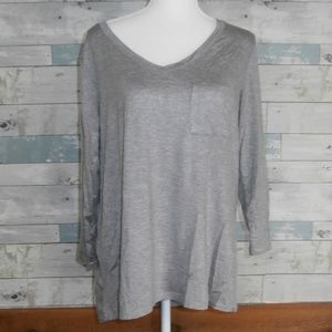Cable & Gauge High/Low Gray Long Sleeve Tunic  E14